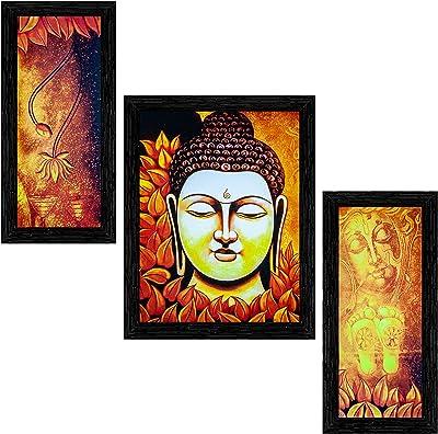 Indianara Set of 3 Gautam Buddha Framed Art Painting (3593BK) without glass 6 X 13, 10.2 X 13, 6 X 13 INCH