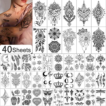 Yazhiji 40 SheetsTemporary Tattoo for Women and Girls Sexy Tat Included 10 Sheets Extra Larger and 30 Sheets Tiny Fake Tattoo Stickers for Kids