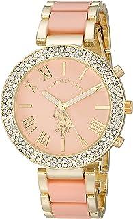 U.S. Polo Assn. Womens USC40063 Gold-Tone and Pink Bracelet Watch
