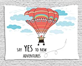 Ambesonne Cartoon Tapestry, Inspirational Words Say Yes to New Adventures Hand Drawn Hot Air Balloon, Wide Wall Hanging for Bedroom Living Room Dorm, 80