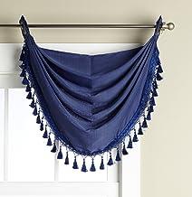Editex Home Textiles Verona Window Collection, Navy, Waterfall Valance 36 x 32-inch