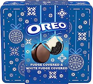 OREO Fudge and White Fudge Covered Chocolate Sandwich Cookies, Original Flavor Creme, Holiday Gift Tin (24 Cookies Total)