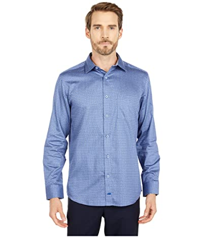 Johnston & Murphy Floral Dot Print Shirt (Blue) Men