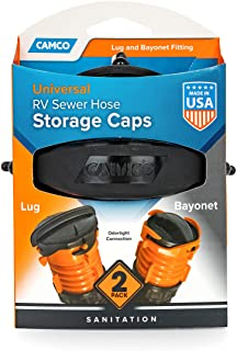 Sponsored Ad - Camco RV Sewer Hose Storage Cap Set - Lug and Bayonet Caps | Allows You to Seal Both Ends of Your Sewer Hos...