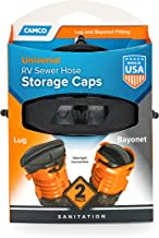 Camco 39752 One Bayonet Cap & One Lug RV Sewer Hose Storage Cap (Pack of 2)