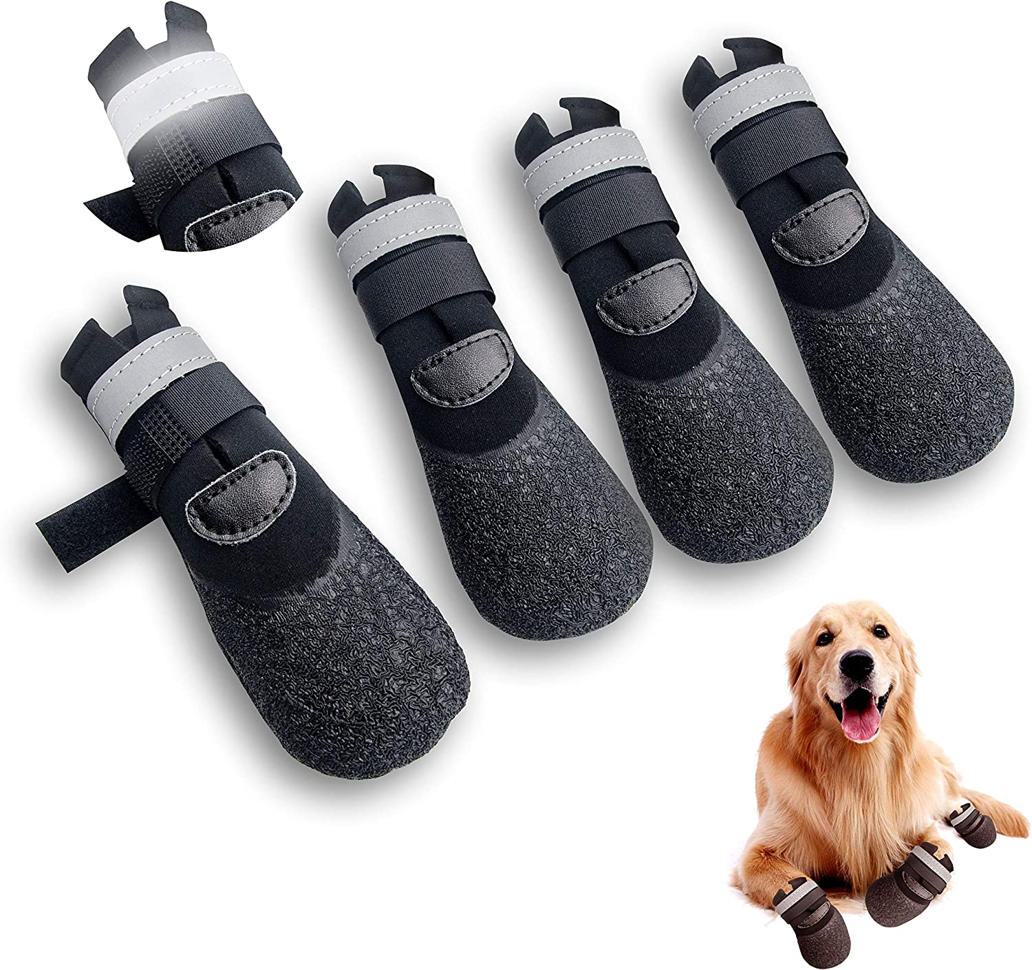 Orangelight Dog Boots,Dog Outdoor Waterproof Shoes for Medium to Large Dogs with Reflective Velcro Rugged Anti-Slip Sole Black 4PCS