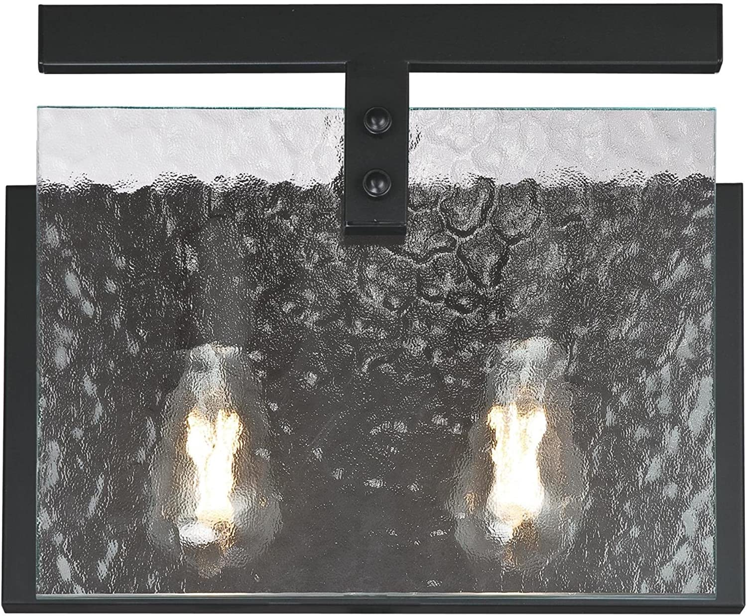 Westinghouse Lighting 6352000 Zane Two-Light Indoor, Matte Black Finish with Clear Water Glass WALL FIXTURE,