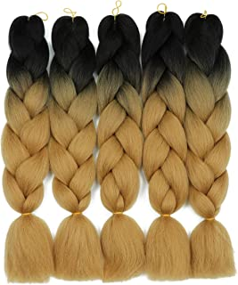 Two Tone Ombre Brown Synthetic Jumbo Braiding Hair Extensions 5 Bundles/Lot 100g/pc Fiber Braiding Hair for Twist 24