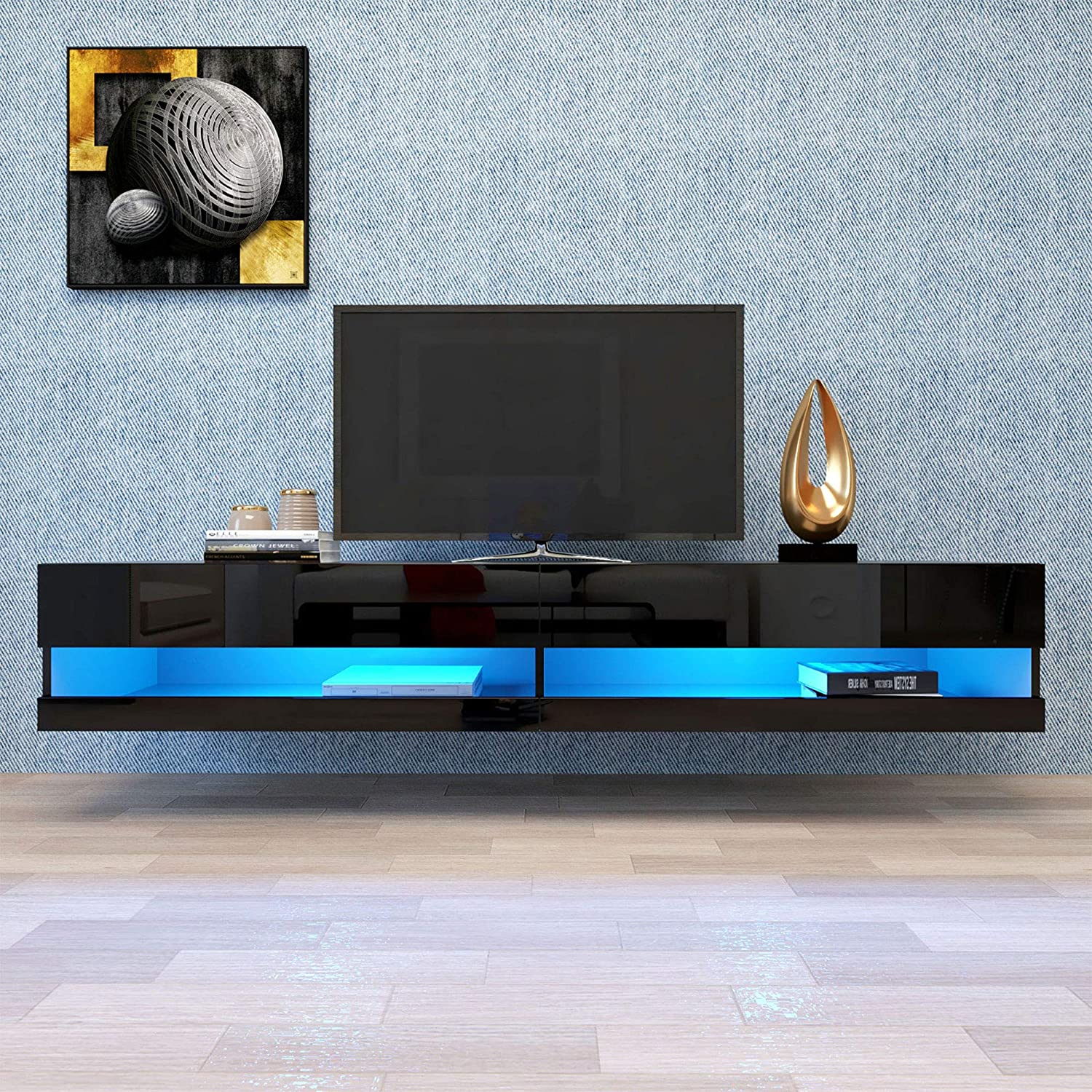 HIAO 71 Inch TV Stand Cabinet Wall Mounted Floating Stand Modern TV Cabinet with 20 Color LED Black Entertainment Center Large Storage Cabinet with Lockers and Drawer for Living Room (Black + White)