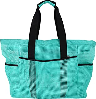 Mesh Beach Bag Tote- Large, Light Weight, Durable and Zip Top Closure (Green)