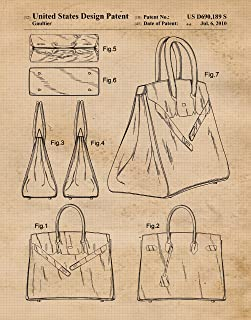 Original Hermes Birkin Bag 2010 Patent Poster Prints, Set of 1 (11x14) Unframed Photo, Wall Art Decor Gifts Under 15 for Home, Office, College Student, Teacher, Designer, Street Fashion & Movies Fan