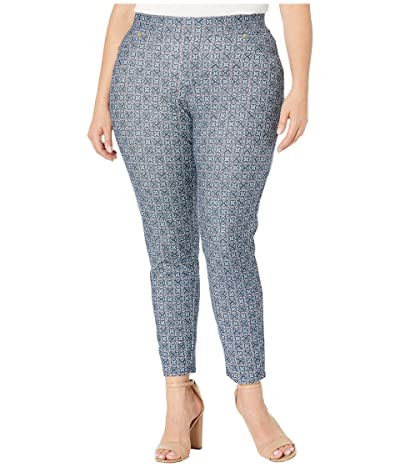 MICHAEL Michael Kors Plus Size Aziza Pull-On Leggings (True Navy/Sea Green) Women