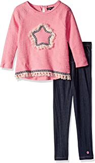 Girls' 2 Piece Long Sleeve Fashion Top and Knit Deim Legging Set