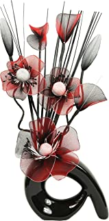 Flourish 793395 QH1 Black Vase with Red and Black Nylon Artificial Flowers in Vase, Fake Flowers, Ornaments, Small Gift, Home Accessories, 32cm
