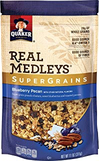 Quaker Real Medleys Super Grains Granola, Blueberry Pecan, 6 Count