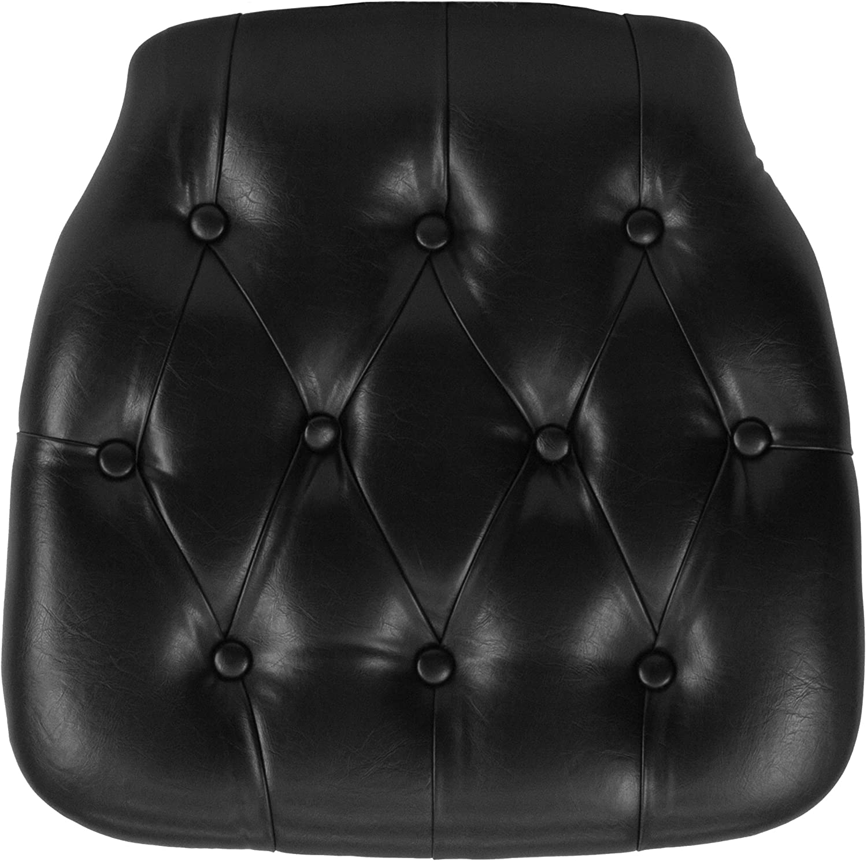 BizChair Indoor trend rank Hard Max 46% OFF Black Tufted Vinyl Dining Chair Cu Chiavari