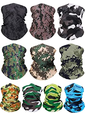 10 Pieces Seamless Bandanas Face Cover Magic Scarf Neck Gaiter Seamless Dustproof Neck Warmer Headbands for Hiking Camping Outdoor Activitie