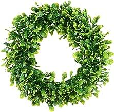 Dseap Boxwood Wreath, Spring Summer Wreath, Front Door Wreath, Greenery Wreath, 15-Inches
