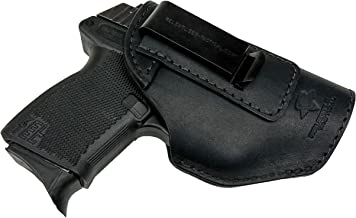 Relentless Tactical The Defender Leather IWB Holster - Made in USA - Fits Glock 42   Sig P365   Ruger LC9, LC9s   Kahr CM9, MK9, P9   Kel-Tec PF9, PF11   Kimber Solo Carry   and More - Made in USA