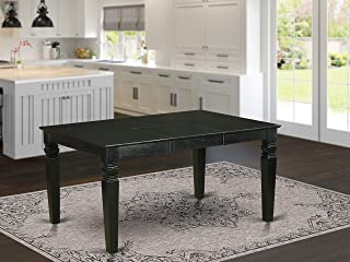 East West Furniture Wet-BLK-T Rectangular Dining Table with 18-Inch Butterfly Leaf, Black