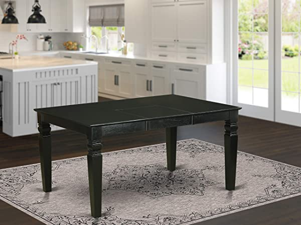 East West Furniture Wet BLK T Rectangular Dining Table With 18 Inch Butterfly Leaf Black