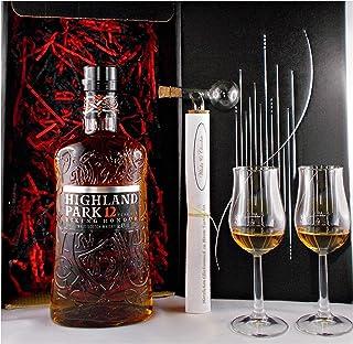 Geschenk Highland Park 12 Jahre Whisky  Glaskugelportionierer  2 Bugatti Gläser