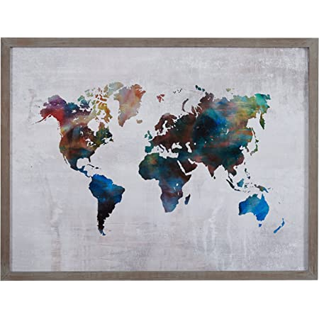 Amazon Com Amazon Brand Rivet Multi Colored World Map Print Wall Art In Gray Wood Frame 40 5 X 30 5 Posters Prints
