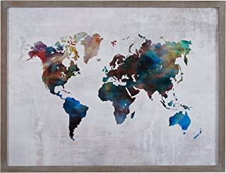 Rivet Multi-Colored World Map Print Wall Art in Gray Wood Frame, 40.5