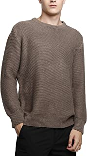 Liny Xin Men's Cashmere Knitted Casual Crew Neck Long Sleeve Loose Winter Wool Pullover Sweater Tops
