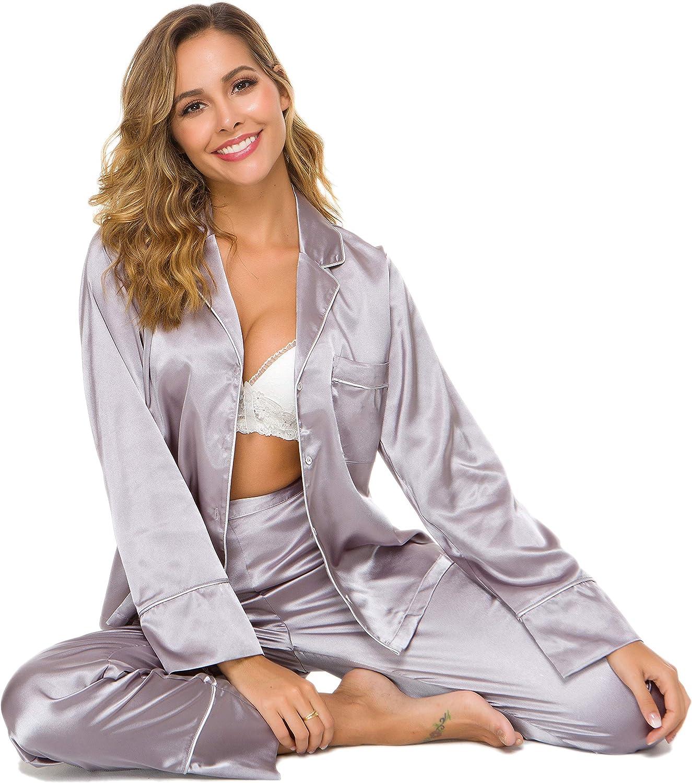 Alcea Rosea Womens Silky Satin Pajamas Set Sleepwear Loungewear Long Sleeves and Button Down S-XXL
