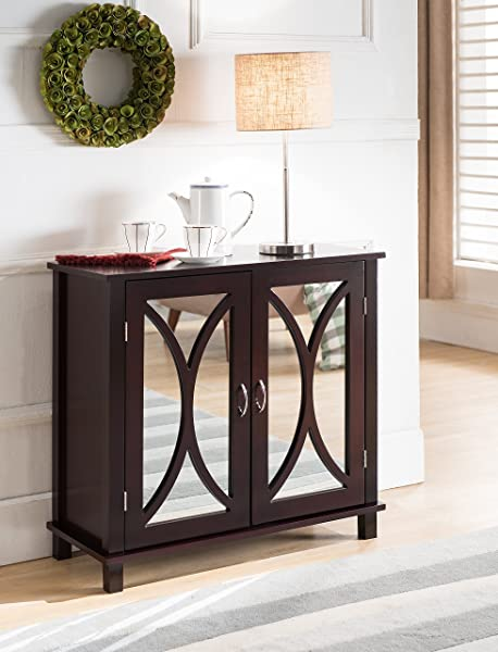 King Brand Marietta Espresso Wood Entryway Console Sofa Table Mirrored Doors
