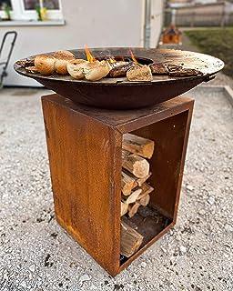 Czaja Feuerschale Lindau mit Feuerplatte Durchmesser 85cm in Rostoptik Vorbewittert | Feuerstelle mit Grillplatte | Plancha | Grillring, Feuerplatte, Feuerring