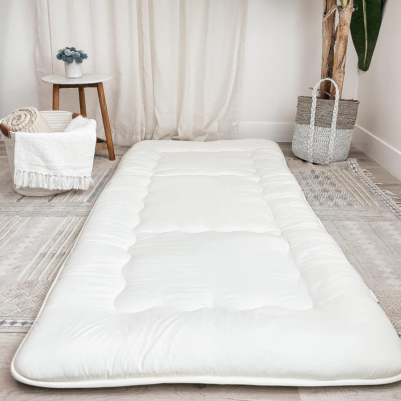Nouveau Home Bedding Floor Futon Mattress, Japanese Foldable Futon Floor Sleeping Mattress, Floor Roll Up Mattress Bed, Couch Mattress Pad, Universal Comfort Medium Firmness (Full, White)