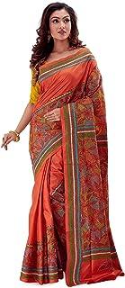 SareesofBengal Women's Pure Silk Handloom Kantha Stitch Saree Rust Orange