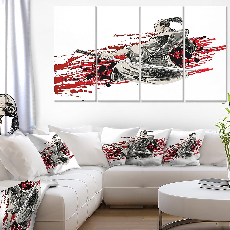 Designart Japan Lowest price challenge Warrior Ranking TOP1 – Canvas Artwork-48x28-4 Piece Japanese