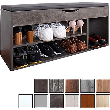 RICOO WM034 BG A, Meuble à Chaussures, 103x49x30cm, Banc Coffre Rangement, Commode Banquette, Meuble de Rangement Chaussures, Bois Gris, Coussin Gris