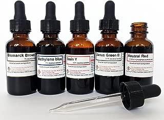 5 Biologic Vital Stain Kit - 30 ML (1 oz) Methylene Blue, Eosin Y, Bismarck Brown Y, Janus Green B and Neutral Red Solutions in Amber Glass Dropper Bottles