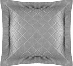 Floor Decorative Quilted Cushion Cover Extra Large Pillowcase Gray 30x30 inch (76x76 cm) Polyester Plain with 2 Inch Flang...