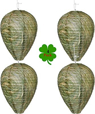 Outward Creations Wasp Nest Decoy - 4 Pack - Hanging Wasp Repellent and Deterrent- Safe Trap