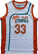 OKnown NO.33 Jackie Moon Flint Tropical Semi-Professional Basketball Movie Throwback Stitched Jerseys White