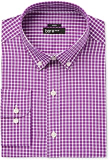 Mens Slim Fit Check Print Dress Shirt Purple M