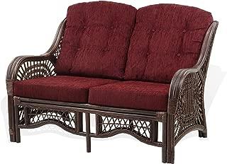 Lounge Malibu Loveseat Sofa ECO Natural Rattan Wicker Handmade Design with Dark Brown Cushions, Dark Brown