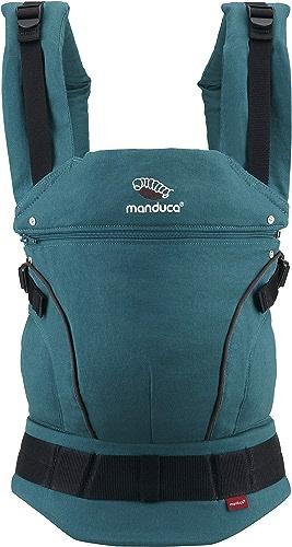 Manduca First Porte-bébé   HempCotton Petrol-marron  Sac à dos porte-bébé avec ceinture ergonomique et extension de dos, canon et coton bio pour bébés de 3,5 à 20 kg (vert bleu-marron)