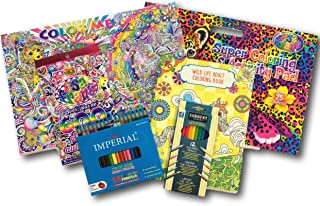 Lisa Frank Color Me Adult Coloring Pad & Kids Activity Set with Stickers, Colored Pencils, Sharpener & More [6 Piece Gift Bundle]