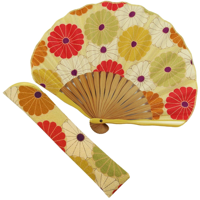 扇子 女性 扇子袋?ハンカチセット 大菊(黄) 箱入り おしゃれ ちりめん 女性用 レディース 扇子