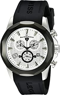 Swiss Legend Men's 10042-02S-BB Monte Carlo Chronograph Silver Textured Dial Black Silicone Watch