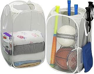 2 Pack – SimpleHouseware Mesh Pop-Up Laundry Hamper Basket with Side Pocket, Gray