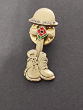best badge: UK stock WW1 Victory Remembrance Day Least We forget Boots Cross Helmet Red Poppy Pin Badge Brooch (Dark Gold)