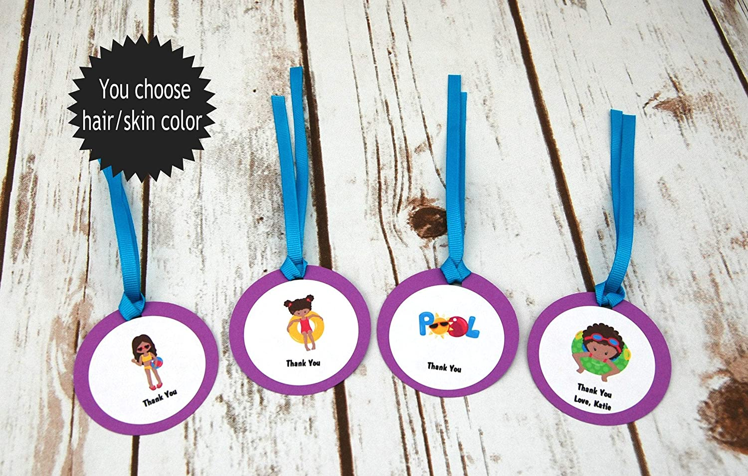 Sale price 12 Pool Party Favor Excellence Tags Beach Girl Swim Thank You