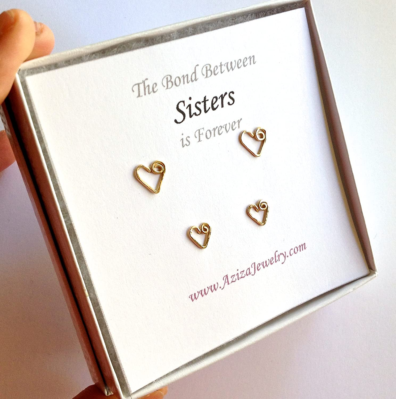 Sisters Gold Heart Stud Special sale item Earrings Gift Big Popular overseas Si Set. Sister Little